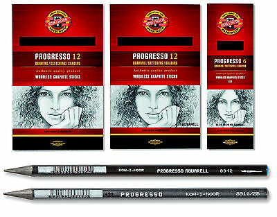 Koh I Noor Progresso Solid Graphite Pencils (12 Solid Graphite Woodless Pencils)