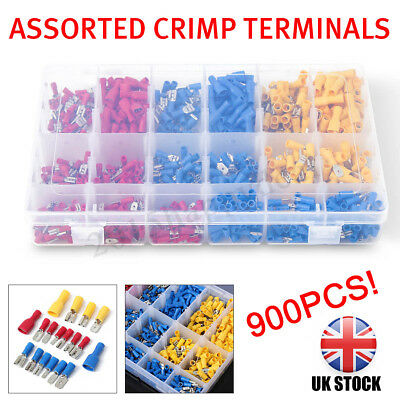 900 Assorted Electrical Wire Terminals Insulated Crimp Connectors Spade Ring DIY