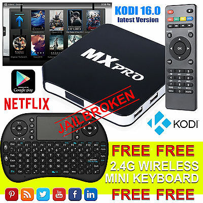 MX Pro Android Box Fully Loaded Quad Core  4.4 TV Media Player XBMC KODI M8S UK