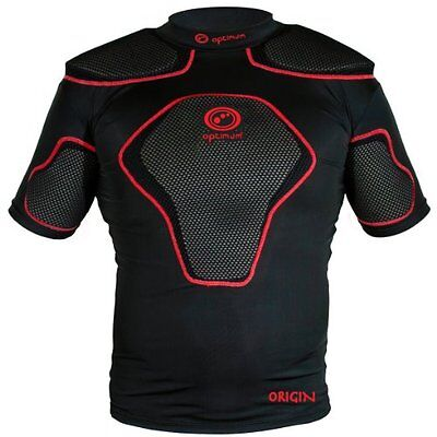 Optimum Mens Origin Protective Shoulder Pad Black/Red Medium Training Sporting