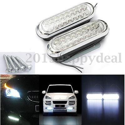 2x 16 LED Unversal Car Van Day Driving Daytime Running DRL Fog White Light Lamps