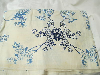 Antique cotton/linen Fabric Material 2 shades blue on cream floral pattern