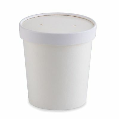 100 X 12OZ Disposable Paper Cup Pasta Deli Soup Ice Cream Tub Bowl With Lid
