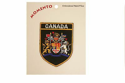 Canada Black Shield Embroirered Iron-On Patch Crest Badge 2 X 2.8 Inches .. New