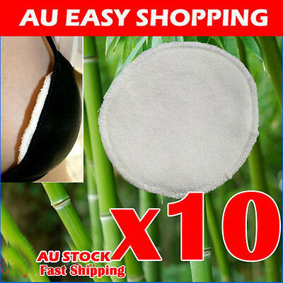 10 x Bamboo Reusable Breast Pads Nursing Waterproof Organic Plain Washable Pad A