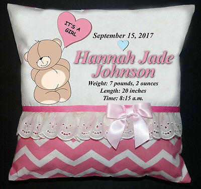 NEW Personalized Embroidered Handmade Announcement Birth Pillow Boy Girl Shower