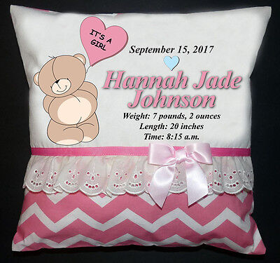 NEW Personalized Handmade Announcement Birth Pillow Boy Girl Shower