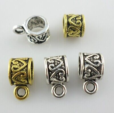 60/500pcs Tibetan Silver Connectors Spacer Bail Beads Charms Jewelry Findings