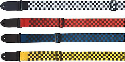Eagle Mountain Chequered Webbing Guitar Strap in Pink, Blue, Red, Yellow, White