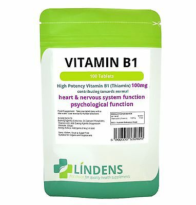 Vitamin B1 (Thiamin) 100 Tablets - mosquito repellent, energy LINDENS