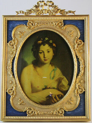 Louis XVI-style French Gilt-Bronze Photo Frame with Blue Enamel