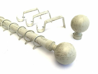 28mm Brushed Cream Ivory Gold Metal Curtain Pole Ball Finial