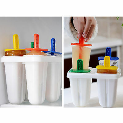 4 Cell Frozen Ice Cream Moulds Lolly Ice Pop Molds Juice Yogurt Kitchen Home