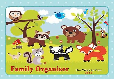 2017 Family Organiser One Week to View Calendar Planner WoodLand Animals ST-9262
