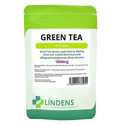 Green Tea Extract Tablets 100 x 1000mg Lindens Fat Burner Weight Loss Slimming