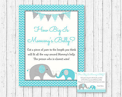 Teal Chevron Elephant How Big Is Mommys Belly Baby Shower Game