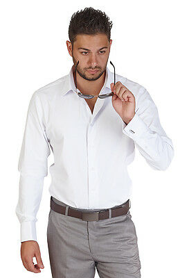 Tailored / Slim Fit Mens French Cuff White Dress Shirt Tone On Tone Stripe AZAR