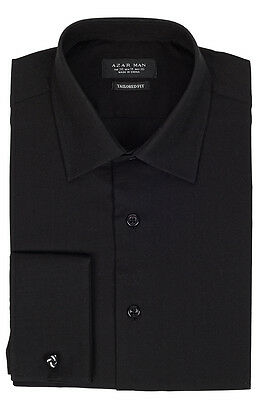 Tailored / Slim Fit Mens French Cuff Black Dress Shirt Wrinkle-Free By AZAR MAN