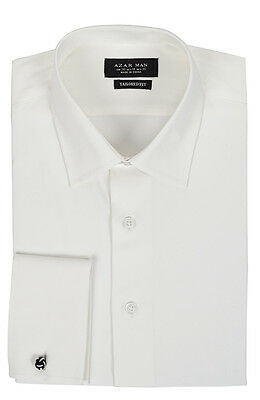 Tailored / Slim Fit Mens French Cuff Ivory Dress Shirt Wrinkle-Free By AZAR MAN