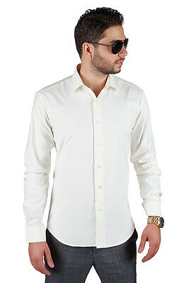 Tailored / Slim Fit Mens Ivory Dress Shirt Wrinkle-Free Spread Collar AZAR MAN
