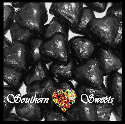 1Kg Black Foiled Hearts Milk Chocolate Choc Candy Buffet Black Lollies Foil