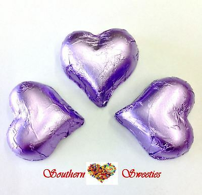 1Kg Lilac Lavender Foiled Hearts Milk Chocolate Choc Candy Buffet Lollies Bulk