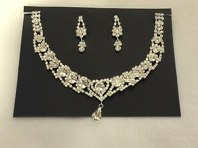 Wedding Day Cubic Zirconia Crystal Necklace Earrings Set Formal Bridal