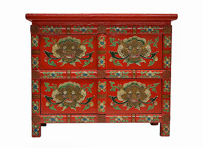 Red Chinese Small Wooden Nightstand / Chest with Painting on Four Sides Feb17-07