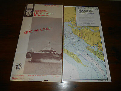 1974 NOAA Nautical Chart Mississippi Louisiana Dog Keys Pass to Waveland