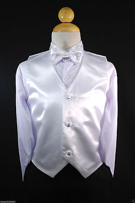 Children Teen Boys WHITE VEST + BOW TIE for Wedding Formal Suits Tuxedo Sz S-28