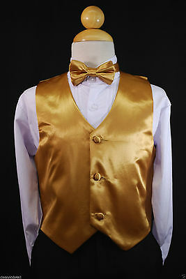 Children Teen Boys GOLD VEST + BOW TIE for Wedding Formal Suits Tuxedo Sz S-28