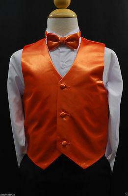 Children Teen Boys ORANGE VEST + BOW TIE for Wedding Formal Suits Tuxedo Sz S-28