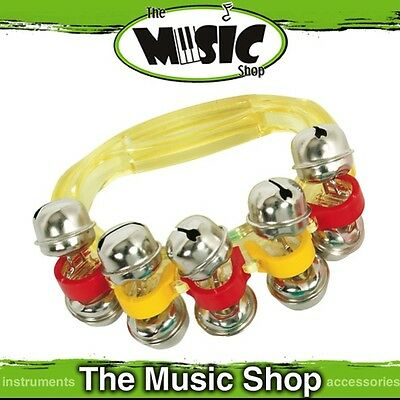 New CPK Sleigh Bells on Transparent Yellow Plastic Handle - 10 Bells - ED133Y
