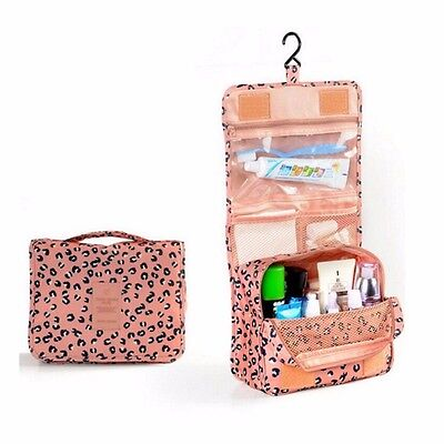 Leopard Portable Hanging Wash Bag Cosmetic Waterproof Make Up Travel Storage Box