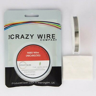 0.1mm (38 AWG) -Comp Ni80 (Nickel Chrome 80/20 Soft Heating Wire) -139.87 ohms/m