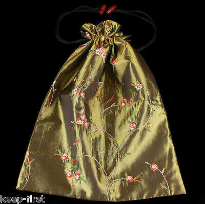 Exquisite Chinese Handmade Olive Green Embroidered Flower Silk Clothes Shoes Bag