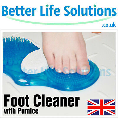 Foot Cleaner with Pumice Stone | Cleans & Exfoliates Feet | Shower & Bath | Blue