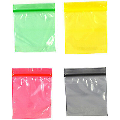 Grip Coloured Sealed Bags Self Resealable Baggy Polythene Plastic 5cm x 5cm