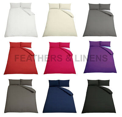 Plain Polycotton Blend Easy-care Percale Duvet Cover & Pillowcase/s Bedding Set