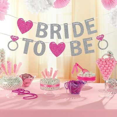HEN Night Party Bride to Be Glitter Banner Party Decoration Bridal Shower DECOR
