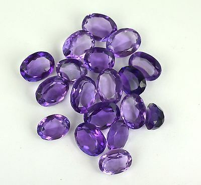 199Ct/18Pcs Good Looking Oval Brazilian Loose Voilet Amethyst Gemstone Lot