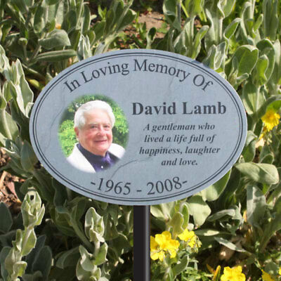 Outdoor Photo Oval Memorial Plaque, Text/Photo, Pet Grave Sign, In Memory Sign