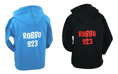 Kids Personalised Hoodie Any Text Full Zip Multiple Colours Adult Sizes Also
