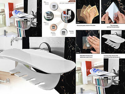 UK Reusable No Screws Wall Toothbrush & Toothpaste Holder Magic Flexible Sticker
