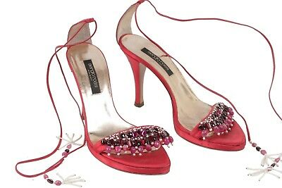 Authentic SERGIO ROSSI Red Satin SANDALS Shoes HEELS w/ BEADING Size 36