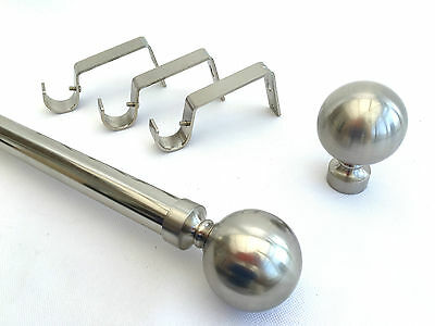 28mm Brushed Chrome Complete Eyelet Metal Curtain Pole