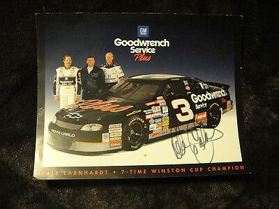 Dale Earnhardt Sr Signed GM Goodwrench 8 x 10 #3 Car Late 1990's Card MUST SEE!!