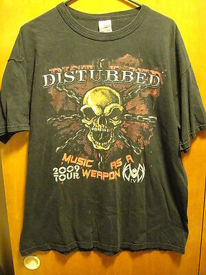 DISTURBED ~ Large~2009 Tour MUSIC As A Weapon ~ T Shirt Killswitch Engage