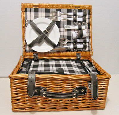 Great Picnic Basket Cooler With Cups, Plates, Utensils For 2  Wicker Willow