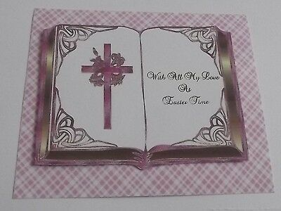 PK 2 HAPPY EASTER BUNNY /& CROSS EMBELLISHMENT TOPPERS FOR CARDS//CRAFTS